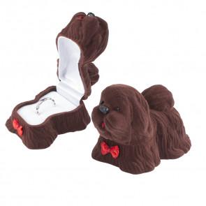 Barna színű, kutya formájú ékszertartó doboz