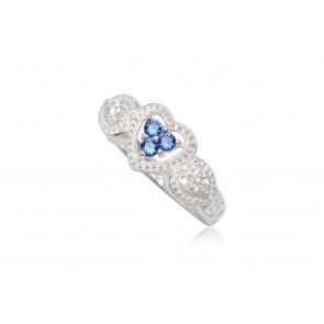 Szív alakú ezüst gyűrű sötét kék cirkónia kristállyal