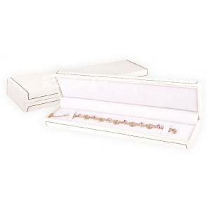 Krém színű karlánc tartó doboz barna díszvarrással (karlánc, nyaklánc, óra)