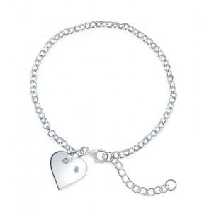 Ezüst karkötő, szív alakú dísszel - 925 ezüst ékszer