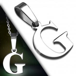 """Ezüst színű, nemesacél betű medál """"G"""""""