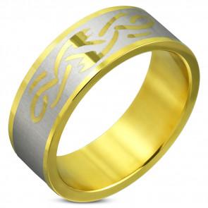 2 színű nemesacél gyűrű, karikagyűrű ékszer