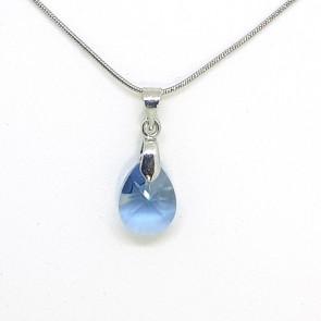 Swarovski® kristályos nemesacél nyaklánc - 12 mm - Pear - Denim Blue