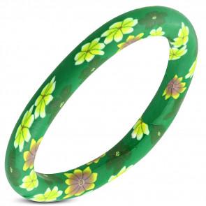 Virágmintás merev karkötő - zöld