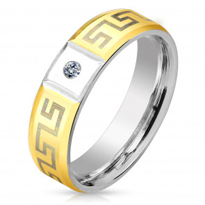 6 mm - Cirkónia kristályos, görög mintás nemesacél karikagyűrű