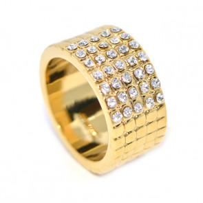 Swarovski kristályos Arany színű  Széles  gyűrű,
