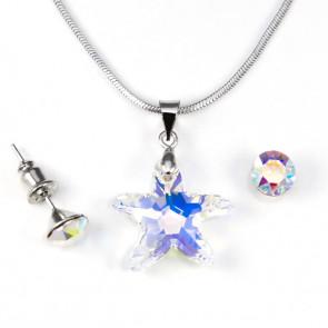 Swarovski® kristályos ékszerszett - Tengeri Csillag 20 mm, Crystal AB