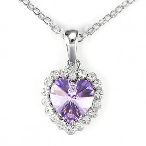 Swarovski kristályos nyaklánc lila köves szívvel