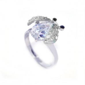 Katicabogaras Swarovski kristályos állítható gyűrű