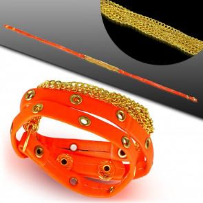 Több részes bizsu bőr karkötő - Narancssárga