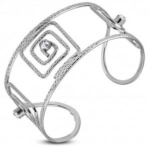 Merev ezüst színű cirkónia kővel díszített karkötő