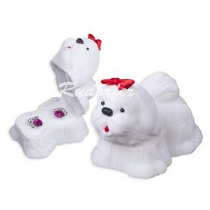 Fehér színű, kutya formájú ékszertartó doboz