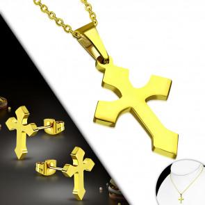 Arany színű nemesacél szett, középkori kereszt alakú medállal