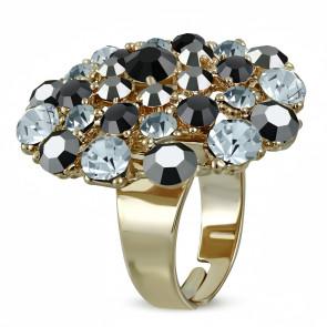 Kerek divat gyűrű, szürke és fekete cirkónia kristállyal