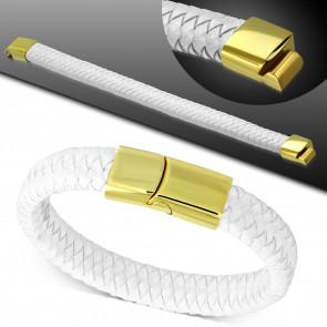 Fehér színű fonott bőr karkötő, arany színű nemesacél zárral