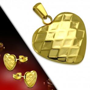 Arany színű nemesacél szett, szív alakú medál és fülbevaló