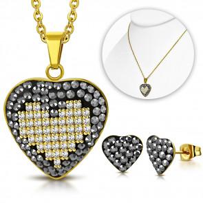 Arany színű nemesacél szett, szív alakú medál cirkónia kristállyal