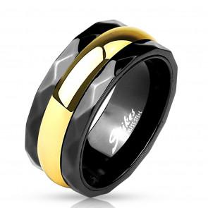 9 mm - Fekete és arany színű nemesacél karikagyűrű