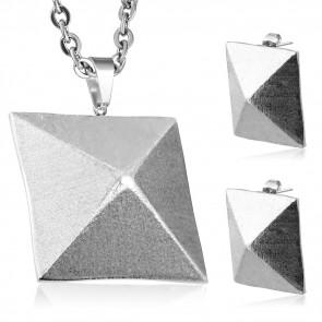 Ezüst színű, piramis alakú nemesacél szett - fülbevaló és medál