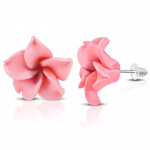 Rózsaszín pluméria virág fülbevaló