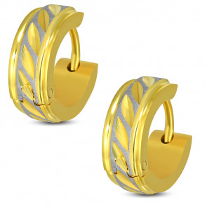 Arany és ezüst színű, vésett mintás karika nemesacél fülbevaló