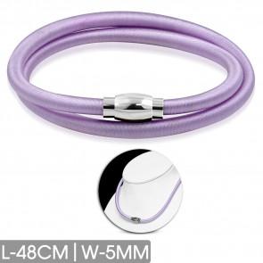 Lila színű rugalmas nyaklánc, nemesacél mágneses zárral