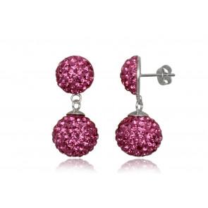 Ezüst fülbevaló pink kristályokkal