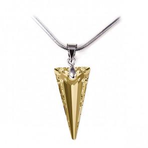 Swarovski® kristályos ezüst nyaklánc - 18 mm - Piramid - Golden Shadow - 925 ezüst ékszer
