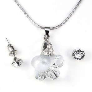 Swarovski kristályos ékszerszett - Virág 18 mm, Crystal