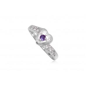 Szív alakú ezüst gyűrű lila cirkónia kristállyal