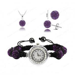 Karórás shamballa szett, sötét lila (karóra, nyaklánc és fülbevaló)