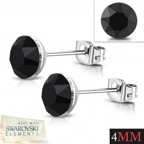 Ezüst színű nemesacél fülbevaló, fekete Swarovski kristállyal - 4 mm