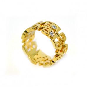 LOVE feliratos gyűrű Swarovski kristállyal, arany színű
