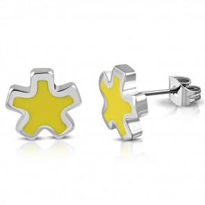 Ezüst színű, csillag alakú nemesacél fülbevaló, sárga színű dísszel