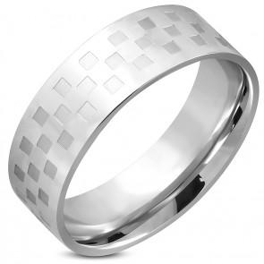 Ezüst színű, kocka mintás nemesacél gyűrű