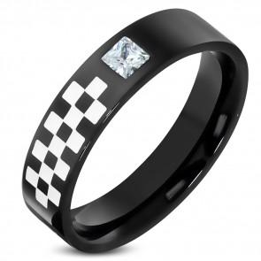 Fekete színű nemesacél gyűrű, cirkónia kristállyal