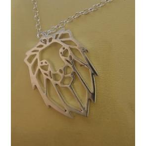 EZüst színű minimál stílusú nyaklánc Oroszlán fej alakú medállal