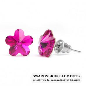 Swarovski kristályos fülbevaló - Virág Sötét Lila