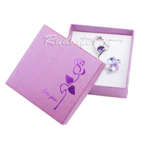 Lila színű, rózsa mintás ékszertartó doboz