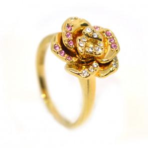 Rózsás Swarovski kristályos gyűrű, arany színű