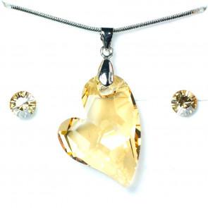 Swarovski® kristályos ékszerszett - Ferde szív, Golden Shadow