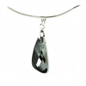 Swarovski® kristályos ezüst nyaklánc - 23 mm - Szárny - Silver Night - 925 ezüst ékszer