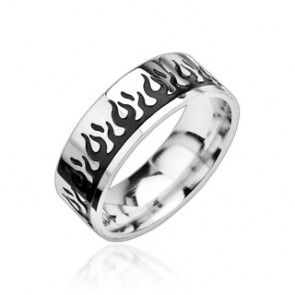8 mm - Tűzláng mintás nemesacél karikagyűrű