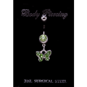 Kis pillangós nemesacél piercing zöld