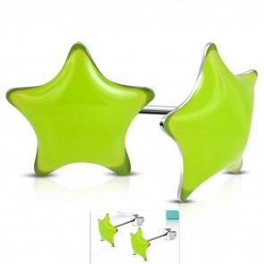 Lime színű, csillag alakú nemesacél fülbevaló