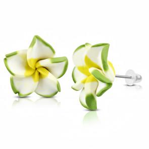 Sárga-fehér-zöld pluméria virág fülbevaló