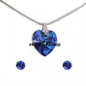 Swarovski® kristályos szett - Szív 14 mm, Bermuda blue