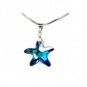 Swarovski® kristályos ezüst nyaklánc - 20 mm - Tengeri csillag - Bermuda Blue - 925 ezüst ékszer