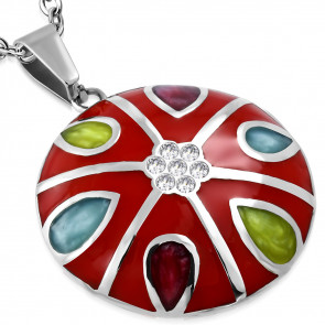 Piros színű, kör alakú, könnycsepp mintás nemesacél medál ékszer, cirkónia kristállyal