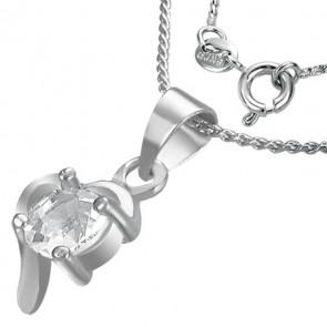 Szív alakú kristállyal ékesített divat nyaklánc